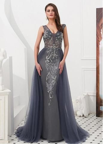90e49cafc0d3c Prom Silver Dress Formal Plus Size Evening Couture Long Ball Gown ...