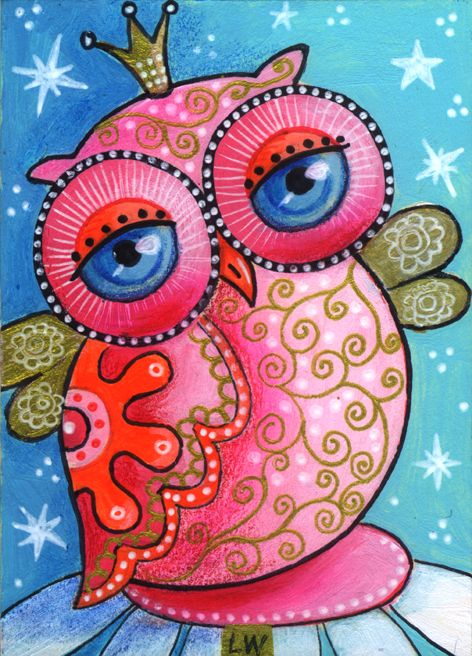 Whimsical pink owl art by Rocio Rivera