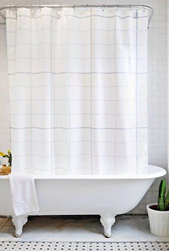 Bathage Modern Grid Pattern Fabric Shower Curtain Exclusive