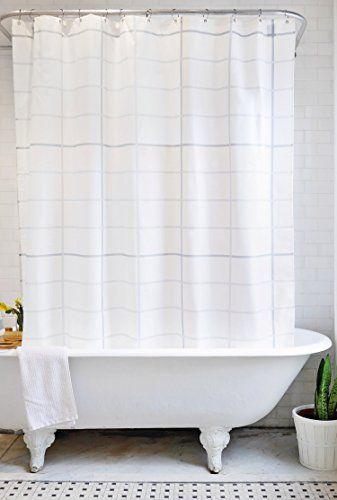 Bathage Modern Grid Pattern Fabric Shower Curtain Exclusive