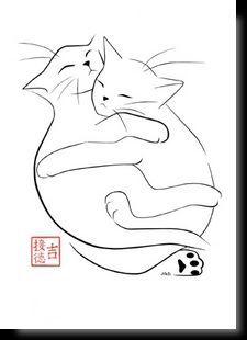 Katzenartige Kunstpostkarten Katzenzeichnung Aquarell Katze Und