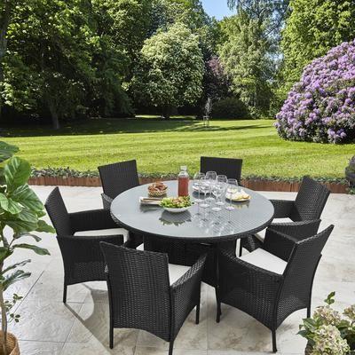 6 Seater Rattan Round Dining Set With Parasol Rattan Garden Furniture Black Grey Garden Furniture Round Dining Set Garden Furniture