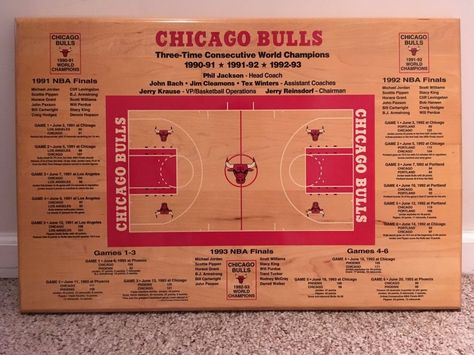 cb81f9c3395 Chicago Bulls History Three Peat World Champions Very Rare Wall Plaque 91 92  93  ChicagoBulls