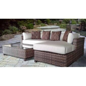 Dutil 3 Piece Sunbrella Sectional Seating Group With Cushions Reviews Joss Main Outdoor Sofa Sets Outdoor Sectional Sofa Outdoor Furniture Sets