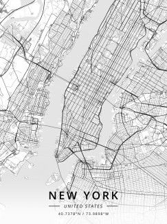 Map Of New York Poster.New York United States By Designer Map Art Metal Posters In 2019