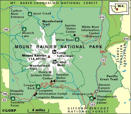 A Map Showing The Major Roads And Highways Around Mount Rainier - Mount rainier on us map