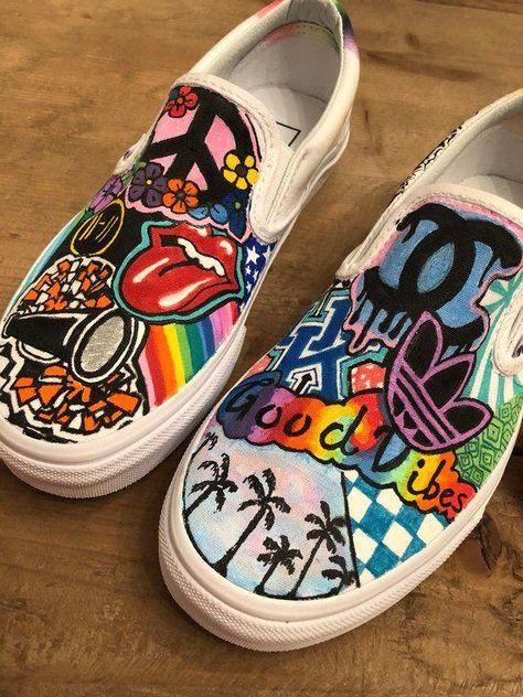 Custom hand painted Vans or Converse sneakers - #vansshoes