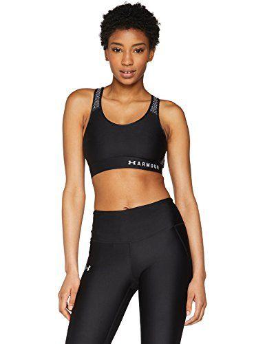Under Armour Mid Keyhole Sport-BH Damen Sport Fitness BH Top Bustier schwarz