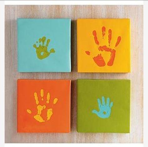 Family Hand Print Canvas Idea House Stuff Wall Art Ideas