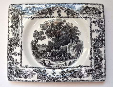 Rectangle Black Transferware Rural Scenes Platter Biarritz Platter