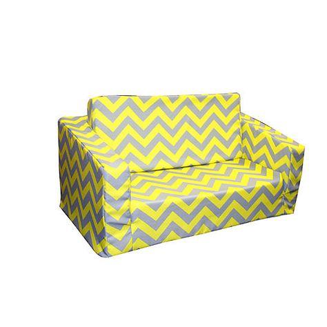 Komfy Kings Toddler Clic Flip Sofa Chevron Yellow And