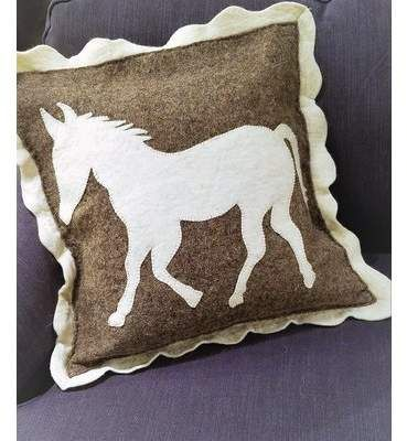 Arcadia Home Lecompte Horse Wool Throw Pillow Arcadia Home Horse Throw Pillows Handmade Cushion Covers Wool Pillows