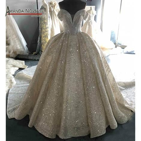 ad49fea202 Top Quality Luxury Long Train Sparky Wedding Dress Full Beading ...