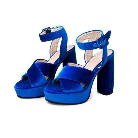 Velvet Women/'s Peep Toe Ankle Strap Platform High Block Heels Slingbacks sandals