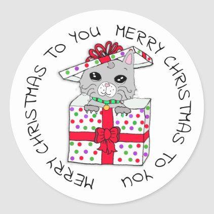 Sweet Kitten In Christmas Gift Box Classic Round Sticker Zazzle Com Christmas Stickers Christmas Gift Box Christmas Gifts