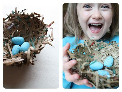 Kids Activities ~ Make a Brown Bag Bird's Nest...paint some wooden eggs to go in the nest