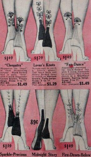 1950s nylon heels stockings illustration vintage fashion style novelty print bows fans floral illustration