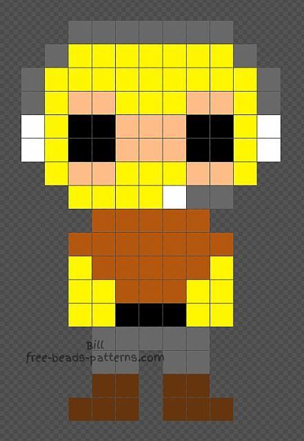 Raptor Fortnite Character Free Perler Beads Pattern 11x17