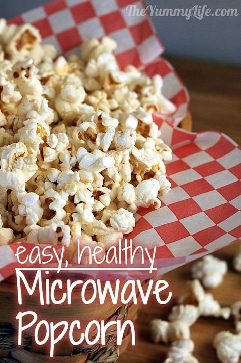 Homemade Microwave Popcorn. Healthier, cheaper,  greener than store-bought packets. No bags or waste. www.theyummylife.com/homemade_microwave_popcorn. I made this and its easy! Cheap plain popcorn and yummy