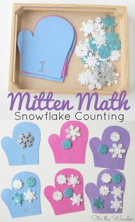 Math Snowflake Counting Activity for Preschoolers is a simple winter themed number recognition and counting activity!Mitten Math Snowflake Counting Activity for Preschoolers is a simple winter themed number recognition and counting activity! Counting Activities For Preschoolers, Winter Activities For Kids, Preschool Lessons, Classroom Activities, Winter Crafts For Preschoolers, Preschool Number Activities, January Preschool Themes, Numeracy Activities, Circle Time Activities