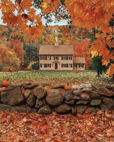 """Cozy cottage in the woods in Vermont New England house and home decor"" New England Fall, Autumn Scenes, Autumn Cozy, Fall Or Autumn, Early Autumn, Autumn Nature, Autumn Harvest, Hello Autumn, Fall Pictures"