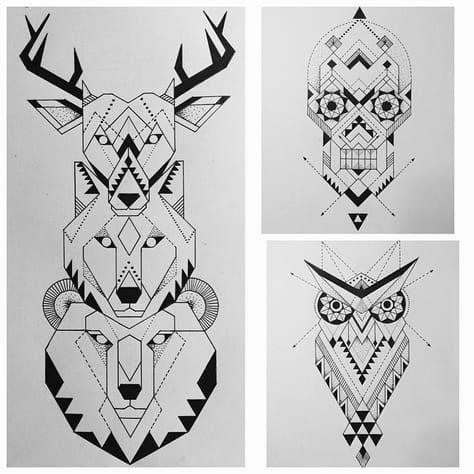 Tattoos Design Tattoos Totempole Spiritual Symmetrical Sacredgeometry Owl Wolf Bear Skull Deer Totem Tattoo Geometric Wolf Geometric Owl Tattoo