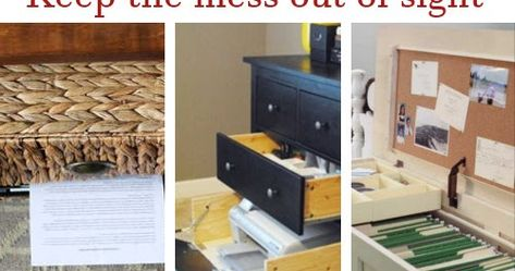 Hidden Office Storage and Organization. #Organize #OfficeSpace #DIY #DIYHSH #Storage #HiddenStorage
