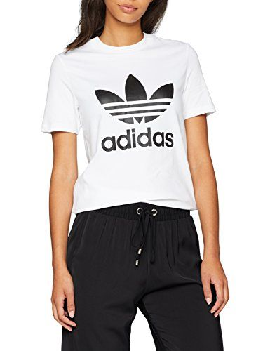 fb7e87a5c8fb adidas Trefoil Tee, Camiseta Deporte para Mujer, Blanca Ropa deportiva adidas  Camiseta tiempo libre