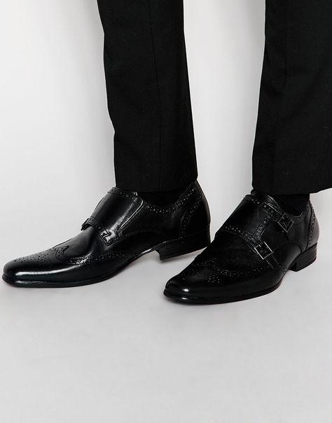 Schuhe von Red Tape Poliertes Leder Monkriemen eckige