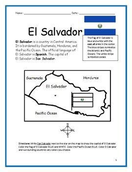 El Salvador Printable Handout With Map And Flag El Salvador