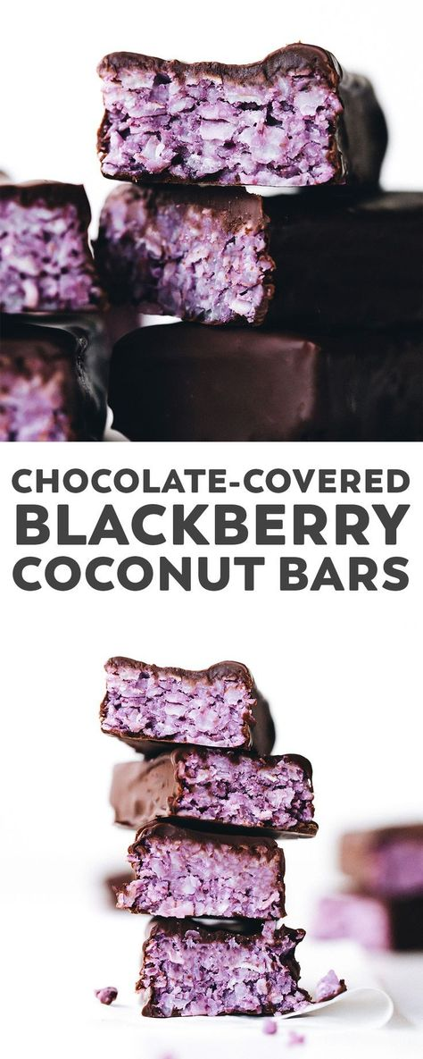 These chocolate covered Blackberry Coconut Bars are the berry-sweetened and beautifully PURPLE version of a bounty bar, but vegan and only 5 ingredients! #vegan #glutenfree #paleo #chocolate #nobake #easyrecipe #healthy #desserts via @feastingonfruit