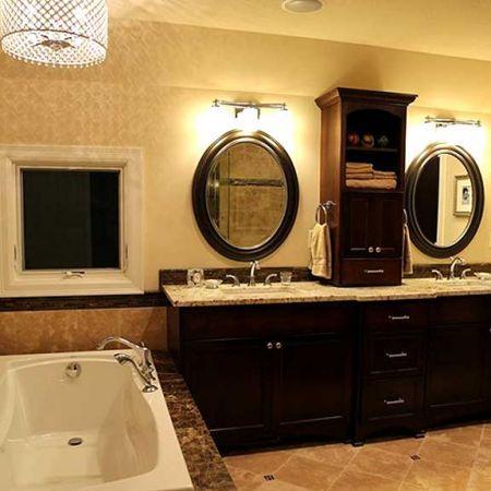 Love the cabinet between the mirrors!!!  Storage storage storage :))  Master bathroom remodel