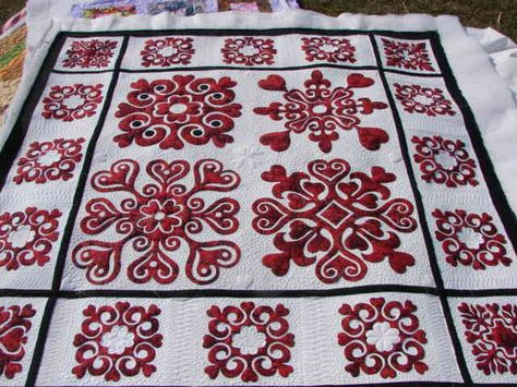 """""""I started this last spring and worked on it inbetween other projects. The closer I got to completing it, the more I worked on it. Love applique' work and love how this turned out. Think I'm giving it to my dear daughter-in-law because she is definitely a sweetheart. It is from """"Paper-Cut Valentines"""" by Darcy Ashton. It measures 66"""" X 66"""". Now I'm on the hunt for the perfect backing and will be sending it out to my favorite longarmer (Charisma). Enjoy!"""""""