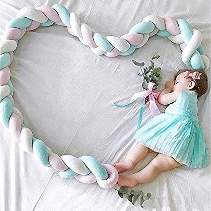 Baby Kinderbett Knotenkissen Bettumrandung Stoßstange Nestchen Weben Kantenschut