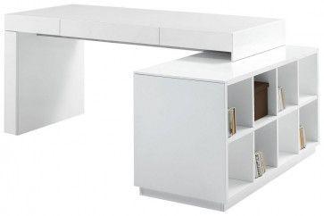 Https Www Creativefurniturestore Com S005 Modern Office Desk With Built In Bookshelf White High Gloss Modern Office Desk White Desk Office Modern White Desk