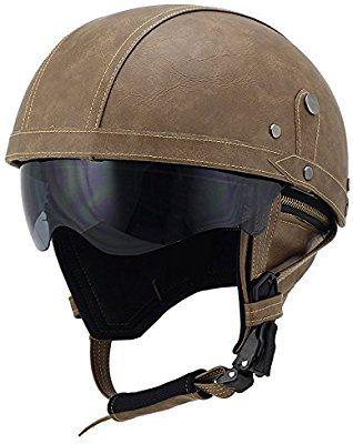 L, Brown Woljay Leather Motorcycle Vintage Half Helmets Motorcycle Biker Cruiser Scooter Touring Helmet