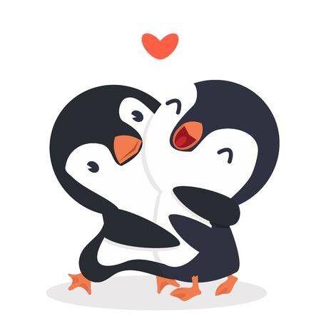 Cute Penguins happy Couple hug