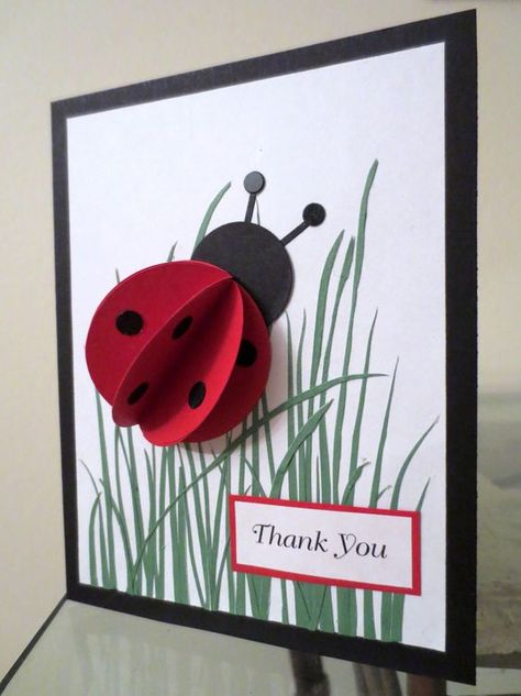Ladybug card using circle punch - thank you, birthday cardmade with circle punches? would be a lovely birthday card for a little girl.Ladybird card (or wall art)Lady bug in the grassGone Camping Craft - Can be personalized with a photo of your child! Kids Crafts, Preschool Crafts, Diy And Crafts, Paper Crafts, Fabric Crafts, Ladybug Crafts, Ladybug Party, Cute Cards, Diy Cards