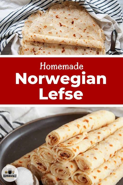Norwegian Potato Lefse Recipe - International Food RecipesThis homemade Norwegian Potato Lefse is delicious. If you want to start a great family tradition or just love cooking interesting things, give this a try. Get out your potatoes for this from-s Potato Lefse Recipe, Enchiladas, Crepes, Biscotti, Norwegian Food, Norwegian Recipes, Norwegian Cuisine, Norwegian Lefse Recipe, Potatoes