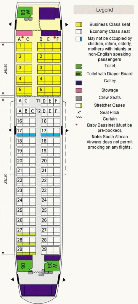 Southwest Airlines Airplane Seating Chart In 2020 South African Airways Seating Plan Business Class Seats