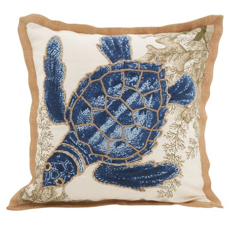 Cotton Throw Pillow Gives A Beachy Twist To Your Couch Bed Or Chair Filled With 100 Percent Duck Sea Turtle Throw Pillow Blue Throw Pillows Red Throw Pillows