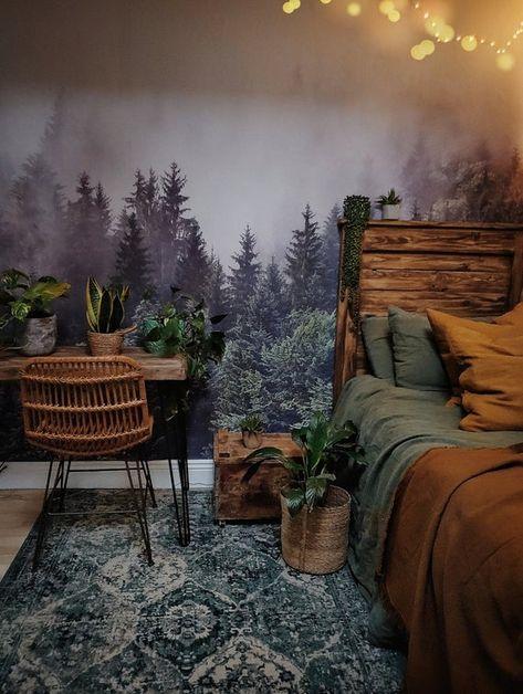 Bedroom Setup, Cozy Bedroom, Dream Bedroom, Bohemian Bedroom Decor, Trendy Bedroom, Bedroom Ideas, Forest Wallpaper, Of Wallpaper, Adhesive Wallpaper