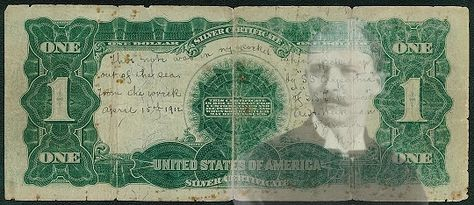"""The dollar bill was carried by 50-year old August (Augustus) H. Weikman of Palmyra, New Jersey, a barber on the ship, who was helping crew members launch lifeboats from an upper deck when one of the ship's boilers exploded and he was blown into the water.    But Weikman survived and later wrote on the back the dollar bill: """"This note was in my pocket when picked up out of the sea by 'S.S. Carpathia' from the wreck of 'S.S. Titanic' April 15th 1912/A.H. Weikman/Palmyra, N.J."""""""
