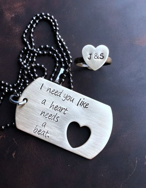 Couples matching jewelry, Personalized boyfriend necklace, Couples gift Christmas, gifts dog tag heart ring Personalized boyfriend necklace