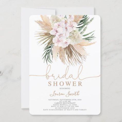 $2.70   Boho chic bridal shower #boho #driedplants #orchidsandroses #palmsandroses #blushpink #desertbohoinvitation #bridalshower #invitation #driedpalmleaves #beachtheme