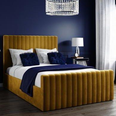 Khloe Velvet King Size Ottoman Bed In Mustard Yellow