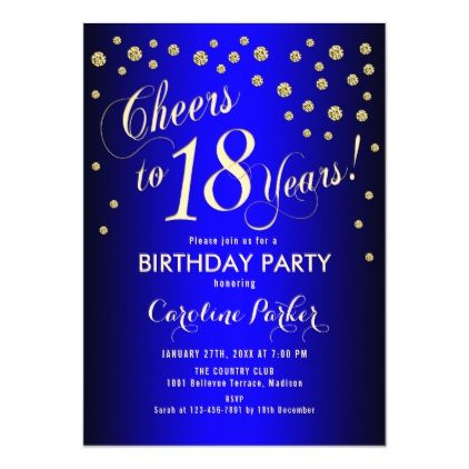 18th birthday party gold royal blue
