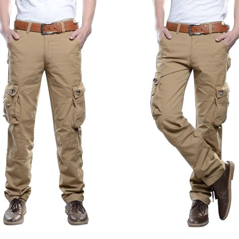 Mens Outdoors Tactical Army Military Solid Color Cargo Pants Casual Multi  Pocket Cotton Trousers
