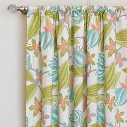 Capri Cotton Blend Floral Room Darkening Thermal Pinch Pleat Single Curtain Panel In 2020 Floral Room Panel Curtains Beach House Decor Living Room