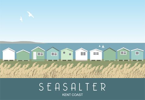 Beach Huts at Seasalter near Whitstable. Railway Poster style Illustration by www.whiteonesugar.co.uk Drawn by Nigel Wallace of White One Sugar. A picture of the Kent coast.